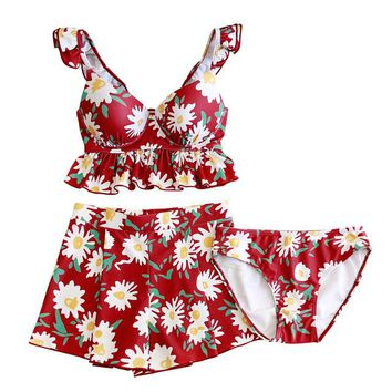 Women's Floral Printed 3 Piece Swimsuits Summer Sexy Backless Beach Red Bathing Suit Quick Dry Ruffle Hem Retro Swimsuit