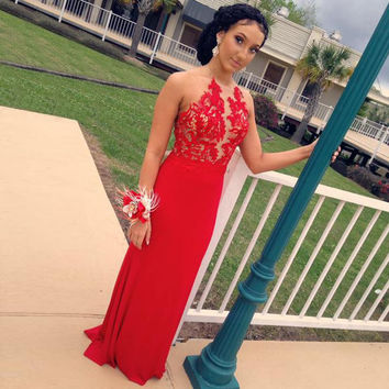 Hot Halter Red Prom Dresses 2016 Sexy Backless Evening Gowns With Appliques Mermaid Formal Dress Robe De Soiree B79