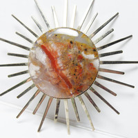 Vintage Polished Agate Sunburst Brooch in Autumn Colors