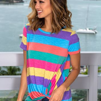 Multi Colored Striped Top with Twist