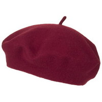 Wool Blend Beret Hat - Red