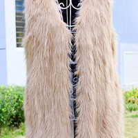 Neo Chic Womens Faux Fur Waist Vest