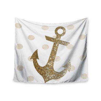 "Nika Martinez ""Glitter Anchor"" Gold Sparkles Wall Tapestry"