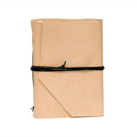 Recycled leather book mini journal cahier chapbook diary notebook blank pages eco paper christmas - ecru beige cream champagne
