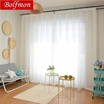 4 Colors White Window Curtains