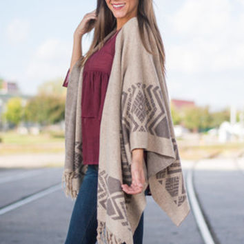 Native Vs. Nurture Open Front Poncho, Taupe