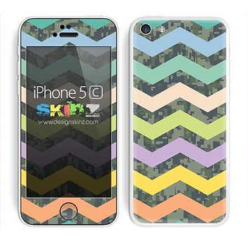 Vibrant Color and Camo Chevron Pattern V3 Skin For The iPhone 5c