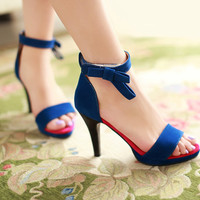 Fashion-Bow-High-Heels-Sandals-Women-Pumps-Spike-Shoes 2928