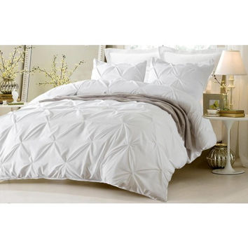 Pinch Pleat Design White Bedding Set-Includes Comforter & Duvet Cover - Style # 1006 C - Cherry Hill Collection in King/Cal King Size