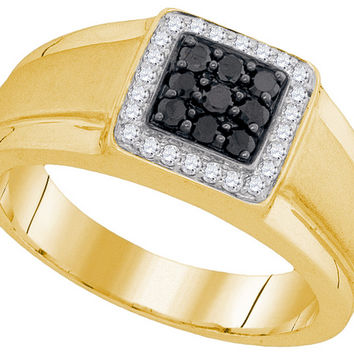10kt Yellow Gold Mens Round Black Colored Diamond Square Cluster Ring 3/8 Cttw 94053