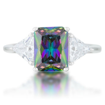 Gretchen Mystic Radiant Cut Three Stone Cocktail Ring  | 4.5ct | Cubic Zirconia | Sterling Silver
