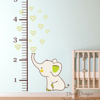 Elephant Growth Chart Wall Decal
