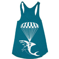Womens Shark Paratrooper TriBlend Racerback Tank Top by lastearth