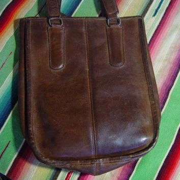 ONETOW Vintage 70s Leather Coach Bag 1970s Dark Brown Small Tote New York City Double Handle
