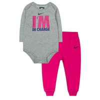 Nike ''I'm In Charge'' Bodysuit & Pants Set - Baby Girl, Size: