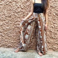 Elephants Hippie Boho Palazzo pants high Slit clothing Gypsy Vegan Bohemian bohochic fashion Beach thai clothing Paisley Gift for her women