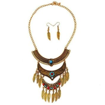 ac NOOW2 Fashion Womens Metal Tassels Pendant Chain Bib Necklace Earrings Jewelry Set GD