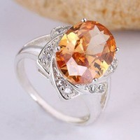 Champagne Colored 9.3 Citrine CZ Ring