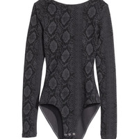 H&M - Long-sleeved Bodysuit - Dark gray - Ladies