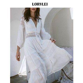 Elegant Women Tunic Summer Fashion Long Beach Dress Sexy Patchwork Short Sleeve Front Open White Cotton Dress Robe De Plage N561