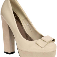 Greta Bow Detail Platform Court Shoes in Beige