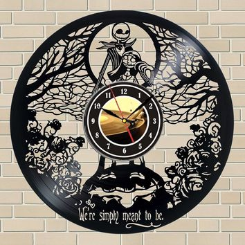 The Nightmare Before Christmas Gift Vinyl Record Wall Clock Fan Black Room Idea duvar saati