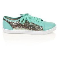 low top sneaker with glitter - debshops.com