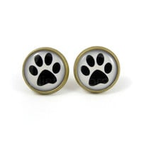 Dog Paw Stud Earrings - Paw Print Earring Posts - Black and White Earring Posts - Free Shipping Etsy