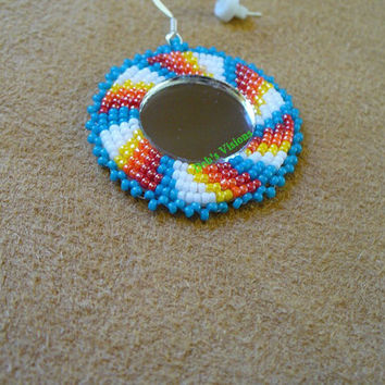 Single Rosette beaded Native American inspired mirrored earring