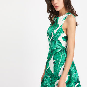 Palm Leaf Print Keyhole Back Tank Dress -SheIn(Sheinside)