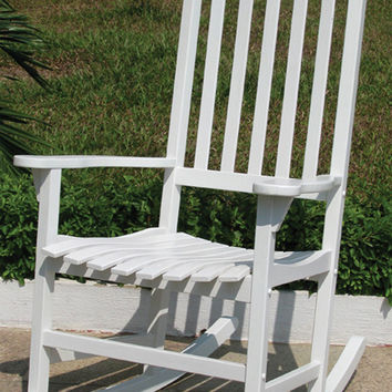Merry Products Painted Traditional Wooden Rocking Chair, Acacia Hardwood