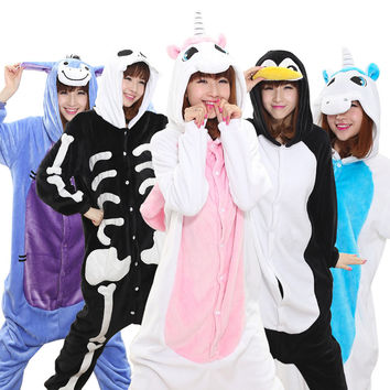 Unicorn Unisex Flannel Hooded Pajamas Adults Cosplay Cartoon Cute Animal Onesuits Kigurumis Sleepwear Hoodies