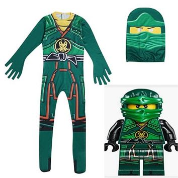 Kids Ninjago Cosplay Costume Ninjago Superhero Skin Decoration Boys Character Clown Performance Clothing Kids Halloween Costume