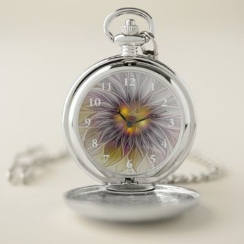 Luminous Colorful Flower, Abstract Modern Fractal Pocket Watch