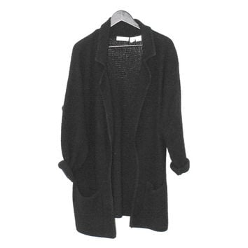 long black wool cardigan MINIMALIST angora lambswool oversized slouchy knit sweater large os