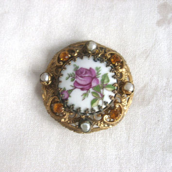 Vintage,Victorian,Brooch,Gold tone frame,rhinestone,pearls,porcelain,1960s