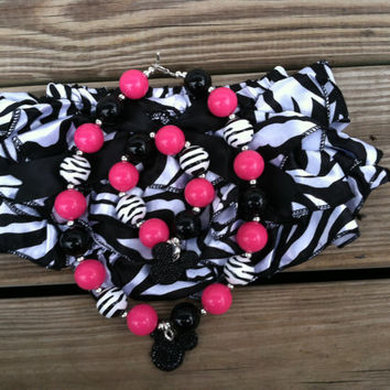 Christmas Sale Hot Pink Zebra Minnie Mouse Chunky Bubblegum Bloomer/Diaper Cover Necklace/Bracelet Set