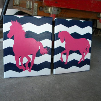 Hot Pink Horses on Navy Chevron for Western Nursery or Room- Hand painted Paintings Set Wall  Art for Nursery, Girls Room-You customize!