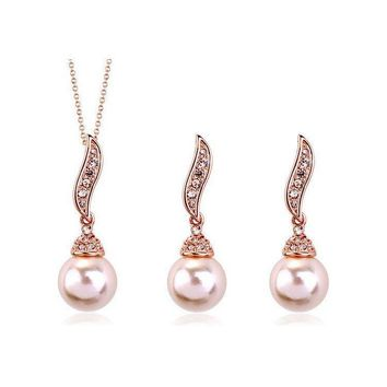 Rose Gold Pearl Drop Bridal Necklace and Earrings Jewelry Set