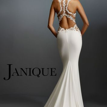 Janique W974 Sweetheart Bodice Racerback Long Sheath
