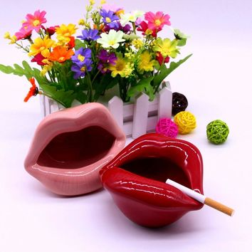 Day-First™ Modern Lighted Lips Ceramic Cigarette Ashtray Holder for Home