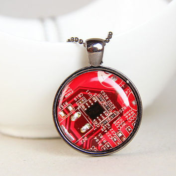 Techie necklace - Circuit board necklace - geekery - recycled computer motherboard - recomputing