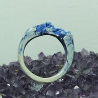 Blue Ceramic Ring Pottery ring Size 6 Unique jewelry