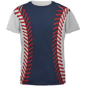 Baseball League Navy Blue and White All Over Mens T Shirt