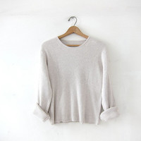 vintage cotton ribbed shirt. oatmeal buff sweater. cropped preppy top. long sleeve ribbed shirt. minimalist top.