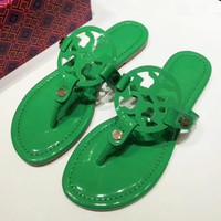 Tory Burch New fashion solid color leopard print slippers shoes sandals women Green