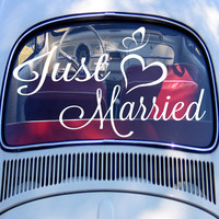 "Just Married Decal Marriage, Wedding, Car Decal, Honeymoon vinyl transfer 14""H x 22""W"
