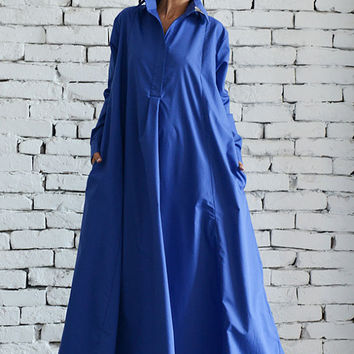 Blue Maxi Dress/Plus Size Kaftan/Extravagant Shirt Dress/Oversize Loose Dress/Blue Kaftan/Long Casual Dress/Plus Size Maxi Dress/Work Dress