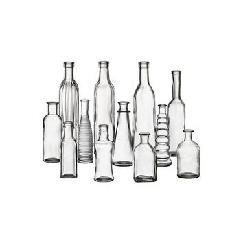Pack of 24 - Clear Glass Vintage Bottle Collection - Ships Alone