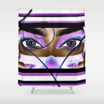 purple gaze Shower Curtain by violajohnsonriley